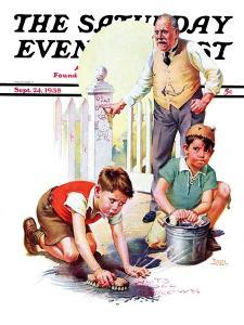 """""""Cleaning Up Graffiti,"""" Saturday Evening Post Cover, September 24, 1938 by Frances Tipton Hunter"""
