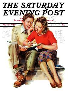 """""""Helping with Homework,"""" Saturday Evening Post Cover, May 25, 1940 by Frances Tipton Hunter"""