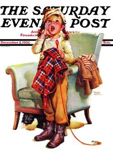 """""""Here Boy!,"""" Saturday Evening Post Cover, December 5, 1936 by Frances Tipton Hunter"""