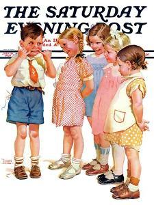 """""""Making Faces,"""" Saturday Evening Post Cover, July 10, 1937 by Frances Tipton Hunter"""