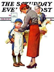 """""""New Woolies,"""" Saturday Evening Post Cover, February 27, 1937 by Frances Tipton Hunter"""