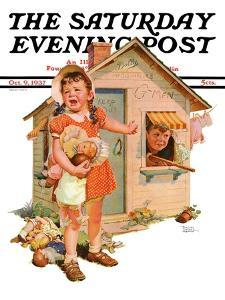 """""""No Girls Allowed,"""" Saturday Evening Post Cover, October 9, 1937 by Frances Tipton Hunter"""