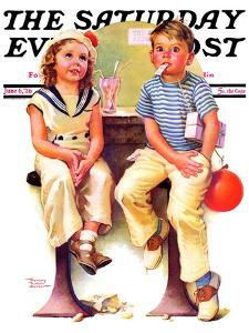 """""""No Money for Her Soda,"""" Saturday Evening Post Cover, June 6, 1936 by Frances Tipton Hunter"""