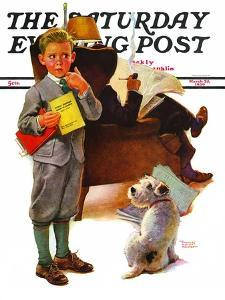 """""""Report Card,"""" Saturday Evening Post Cover, March 25, 1939 by Frances Tipton Hunter"""