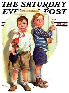"""""""School Fight,"""" Saturday Evening Post Cover, September 12, 1936 by Frances Tipton Hunter"""