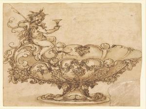 Design for an Elaborate Urn with Putto and Vines by Francesco De Rossi Salviati Cecchino