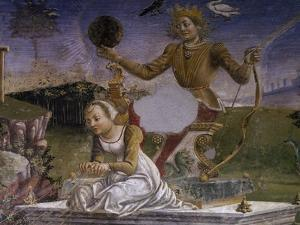 Apollo and Aurora, Detail from Triumph of Apollo, Scene from Month of May, Ca 1470 by Francesco del Cossa