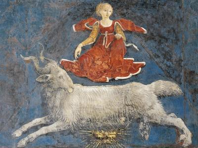 Aries and Dean, Detail from Sign of Aries, Scene from Month of March, Ca 1470