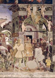 Borso D'Este, Prince of Ferrara, Rendering Justice: March from the Room of the Months, 1467-70 by Francesco del Cossa