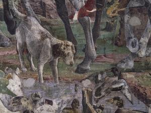 Dog and Ducks, Scene from Month of March by Francesco del Cossa
