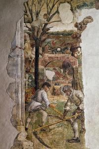 Farmers at Work and Cherry Harvest, Detail from Sign of Gemini, Month of May by Francesco del Cossa