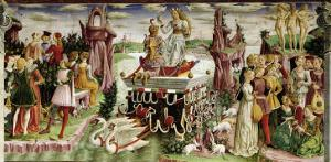 The Triumph of Venus: April from the Room of the Months, c.1467-70 by Francesco del Cossa