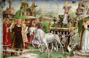 Triumph of Minerva: March, from the Room of the Months, Chariot and the Group of Savants, c.1467-70 by Francesco del Cossa