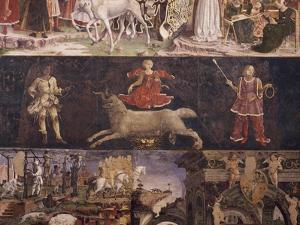 Triumph of Minerva, Sign of Aries and Borso D'Este Administrating Justice and Going Hunting by Francesco del Cossa