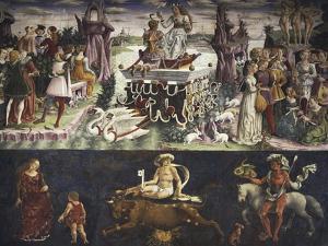 Triumph of Venus and Sign of Taurus, Scenes from Month of April, Ca 1470 by Francesco del Cossa