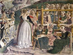 Weavers at Work, Detail from Triumph of Minerva, Scenes from Month of March, Ca 1470 by Francesco del Cossa