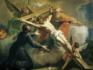 Crucifixion with God the Father and Saint Ignatius of Loyola by Francesco Fontebasso