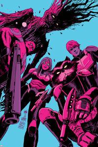 Guardians of the Galaxy #8 Cover: Groot, Drax, Gamora, Rocket Raccoon, Star-Lord by Francesco Francavilla