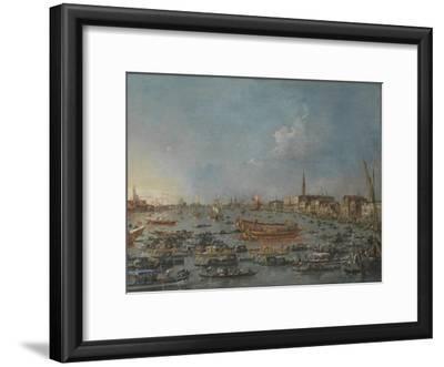 """Bucintoro Festival Venice. Bacino di S. Marco w/ """"Bucintoro"""", Doge's Barge, Ascension Day, 1780-93"""