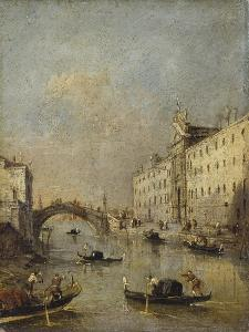 Venice or Rio Dei Mendicanti with Gondolas, 1780-99 by Francesco Guardi