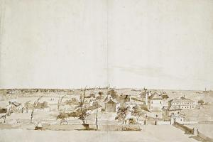 View across the Garden of the Villa Loredan (Pen and Brown Ink with Brown Wash on White Paper) by Francesco Guardi