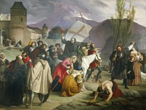 Peter Hermit Riding White Mule with Crucifix in His Hand and Circulating Through Cities by Francesco Hayez