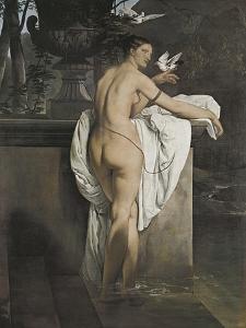 Portrait of Ballerina Carlotta Chabert Who Playing with Doves by Francesco Hayez