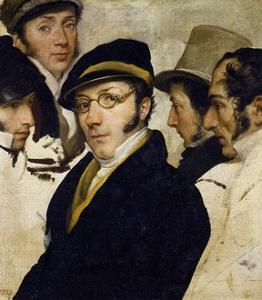 Self-Portrait with Friends Migliara, Palagi, Grossi, Molteni by Francesco Hayez