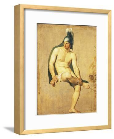 Study of Naked Warrior Seated with Helmet on His Head