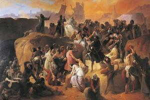 The Thirst Suffered by the First Crusaders in Jerusalem, Detail, 1836-1850 by Francesco Hayez