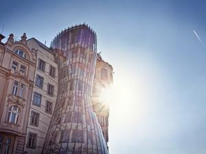 Europe, Czech Republic, Central Bohemia Region, Prague, the Swinging House or Dancing House by Rich by Francesco Iacobelli