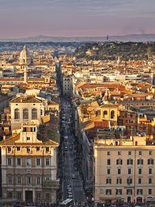 Via Del Corso Ta Sunset, Rome, Lazio, Italy, Europe by Francesco Iacobelli