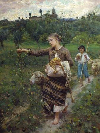 The Shepherdess by Francesco Paolo Michetti