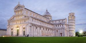 Pisa, Campo Dei Miracoli, Tuscany. Cathedral and Leaning Tower at Dusk, Long Exposure by Francesco Riccardo Iacomino