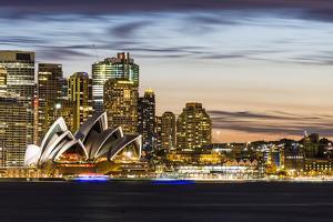 Sydney at dusk. Opera house and cityscape skyline by Francesco Riccardo Iacomino