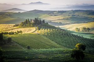 Val D'Orcia, Tuscany, Italy. a Lonely Farmhouse with Cypress and Olive Trees, Rolling Hills. by Francesco Riccardo Iacomino