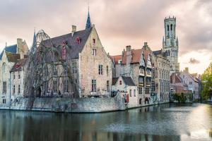 View from the Rozenhoedkaai, Bruges, Belgium, Europe. by Francesco Riccardo Iacomino