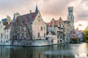 View from the Rozenhoedkaai, Bruges, Belgium, Europe. by Francesco Riccardo Iacomino