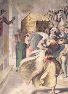 Saul's Daughter Michal Watching David Dance Before the Ark by Francesco Salviati