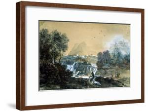 Landscape with a Waterfall, Italian Painting of 18th Century by Francesco Zuccarelli
