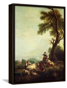 Landscape with Peasants Watching a Herd of Cattle by Francesco Zuccarelli
