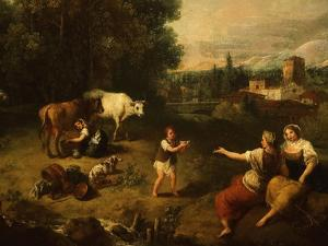 Pastorale, Landscape with Milkmaid and Cows, C. 1750-60, Detail by Francesco Zuccarelli