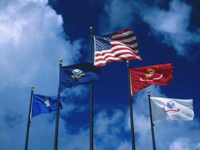 Flags of US Army, Navy, Marines, and Coast Guard