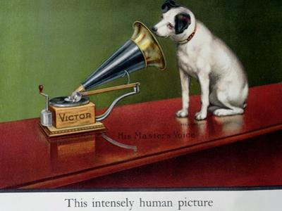 """Advertisement for Victor Gramophones, from """"The Theatre,"""" circa 1910 (Detail) by Francis Barraud"""