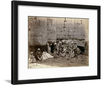 Group Photograph in the Hall of Columns, Karnak, Thebes, 1862