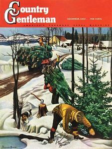 """Harvesting Christmas Trees,"" Country Gentleman Cover, December 1, 1942 by Francis Chase"