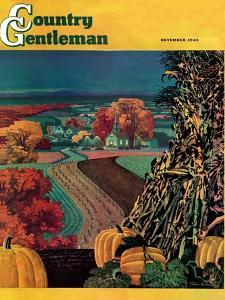"""Thanksgiving Harvest at Night,"" Country Gentleman Cover, November 1, 1945 by Francis Chase"