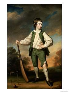 The Young Cricketer: Portrait of Lewis Cage, Full-Length, in a Green Waistcoat and Breeches by Francis Cotes