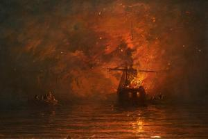 Ship on Fire, 1873 by Francis Danby
