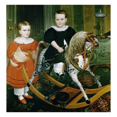 19th-Century American Painting of The Hobby Horse